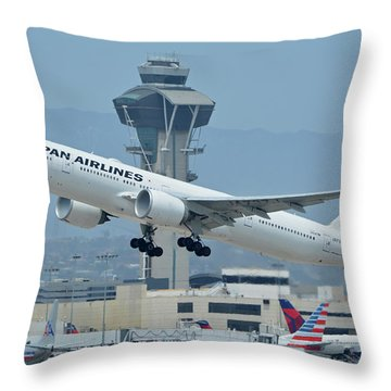 Throw Pillow featuring the photograph Japan Airlines Boeing 777-346er Ja737j Los Angeles International Airport May 3 2016 by Brian Lockett