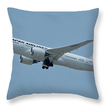 Japan Airlines Boeing 787-8 Ja835j Los Angeles International Airport May 3 2016 Throw Pillow by Brian Lockett