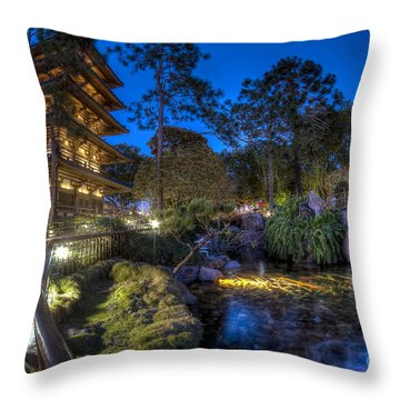 Japan Epcot Pavilion By Night. Throw Pillow