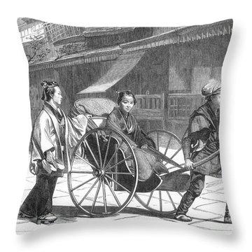 Japan: Rickshaw, 1874 Throw Pillow by Granger