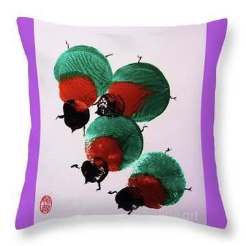 Throw Pillow featuring the painting Japanese Beetles by Roberto Prusso