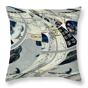 Throw Pillow featuring the digital art Japanese Bold Abstract by Robert G Kernodle