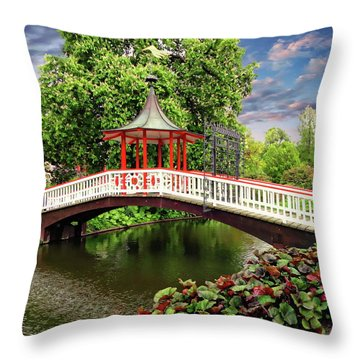 Japanese Bridge Garden Throw Pillow