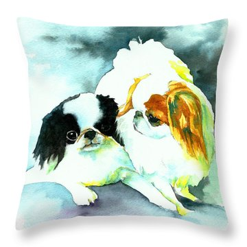 Throw Pillow featuring the painting Japanese Chin Dog by Christy  Freeman