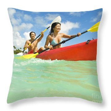Japanese Couple Kayaking Throw Pillow by Dana Edmunds - Printscapes