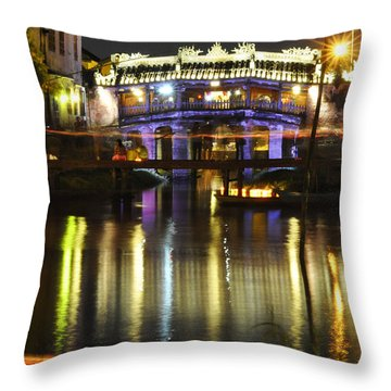 Japanese Covered Bridge Throw Pillow