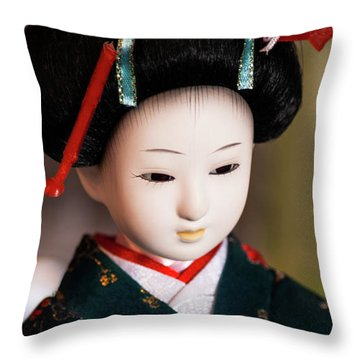 Japanese Doll Throw Pillow