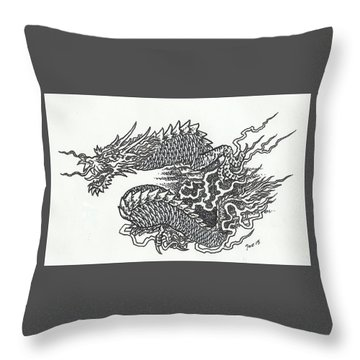 Japanese Dragon Throw Pillow