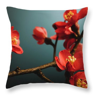Japanese Flower Throw Pillow