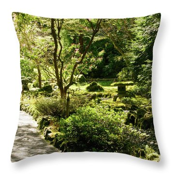 Japanese Garden At Butchart Gardens In Spring Throw Pillow by Louise Heusinkveld