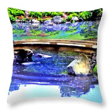 Japanese Garden Throw Pillow by Bill Cannon