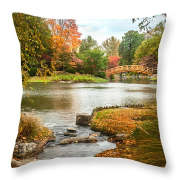Japanese Garden Bridge Fall Throw Pillow