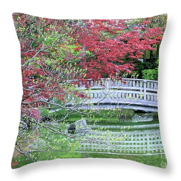 Japanese Garden Bridge In Springtime Throw Pillow by Carol Groenen