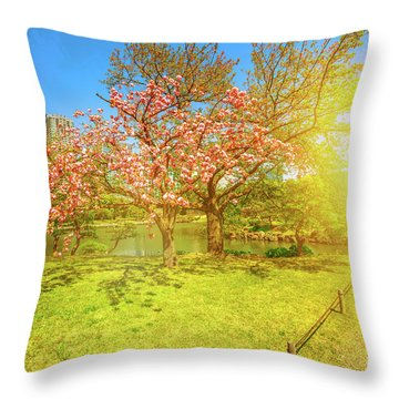 Japanese Garden Cherry Blossom Throw Pillow