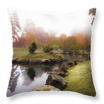 Japanese Garden In Early Autumn Fog Throw Pillow