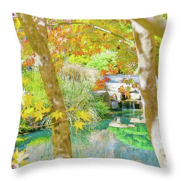 Japanese Garden Pond Throw Pillow