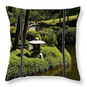 Japanese Garden Triptych Throw Pillow