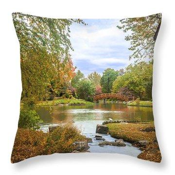 Japanese Garden View Throw Pillow