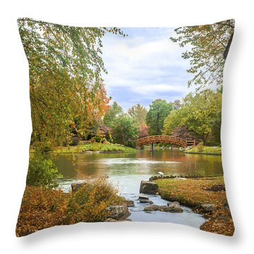 Japanese Garden View Throw Pillow