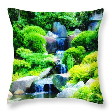 Japanese Garden Waterfall Throw Pillow by Bill Cannon