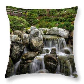 Japanese Garden Waterfalls Throw Pillow