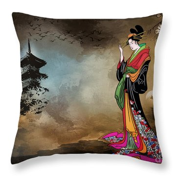 Japanese Girl With A Landscape In The Background. Throw Pillow