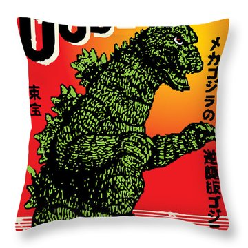 Japanese Godzilla  Throw Pillow