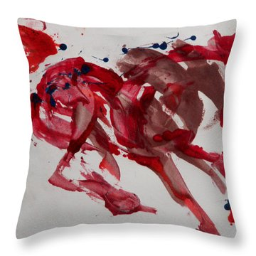Japanese Horse Throw Pillow