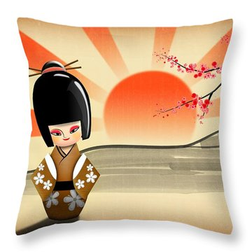 Japanese Kokeshi Doll Throw Pillow