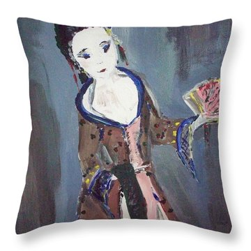 Japanese Lady Throw Pillow by Judith Desrosiers