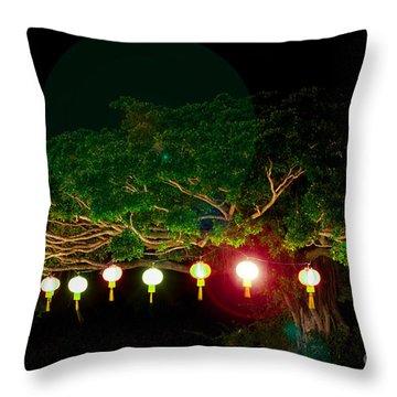 Japanese Lantern Tree Throw Pillow