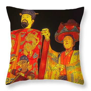 Japanese Lanterns King And His Dancers Throw Pillow