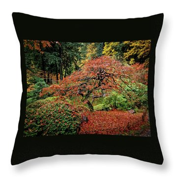 Throw Pillow featuring the photograph Japanese Maple At The Japanese Gardens Portland by Thom Zehrfeld