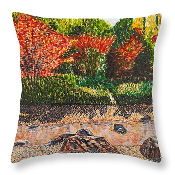 Japanese Maple Trees At The Creek Throw Pillow