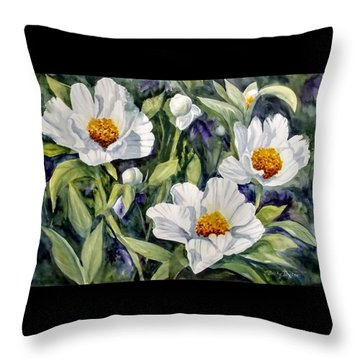 Japanese Peonies Throw Pillow