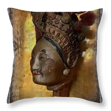 Japanese Puppet Head Single Throw Pillow by Jeff Burgess