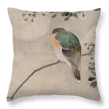 Japanese Silk Painting Of A Wood Pigeon Throw Pillow by Japanese School