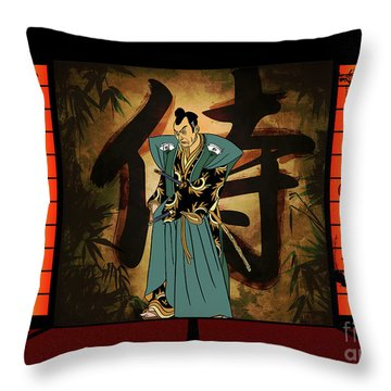 Throw Pillow featuring the drawing Japanese Style by Andrzej Szczerski