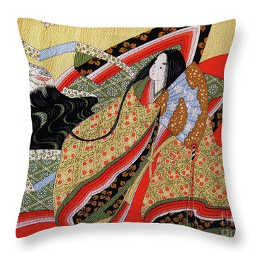 Japanese Textile Art Throw Pillow