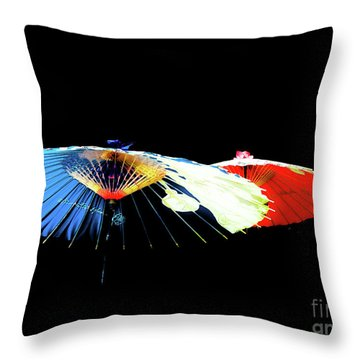 Japanese Umbrellas Assorted Colors Throw Pillow