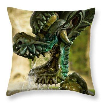Japanese Water Dragon Throw Pillow by Sebastian Musial