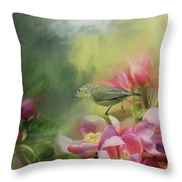 Japanese White-eye On A Blooming Tree Throw Pillow by Eva Lechner