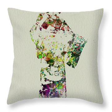 Japanese Woman In Kimono Throw Pillow by Naxart Studio