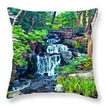 Japanese Waterfall Garden Throw Pillow by Scott Carruthers