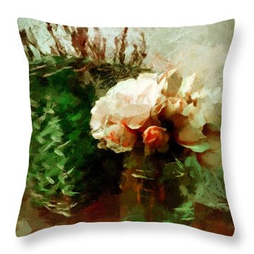 Throw Pillow featuring the mixed media Jar Of Roses With Lavender by Patricia Strand