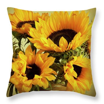 Jar Of Sunflowers Throw Pillow