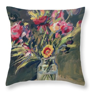 Jar Vase With Flowers Throw Pillow