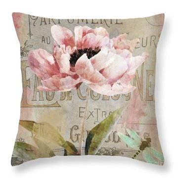 Jardin Rouge I Throw Pillow by Mindy Sommers