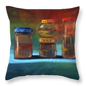 Throw Pillow featuring the painting Jars Still Life Painting by Nancy Merkle