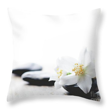 Jasmine Flower On Spa Stones Throw Pillow